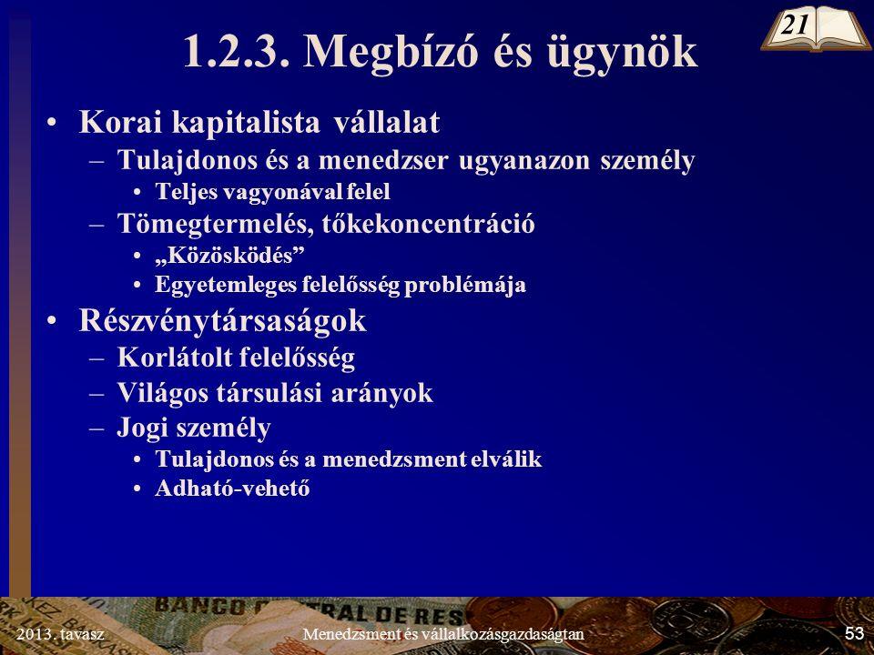 2013. tavasz 53 Menedzsment és vállalkozásgazdaságtan 1.2.3.