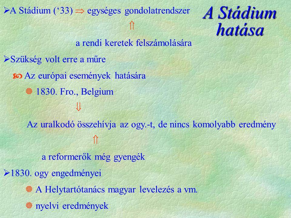  A Stádium ('33)  egységes gondolatrendszer  a rendi keretek felszámolására  Szükség volt erre a műre  Az európai események hatására  1830.