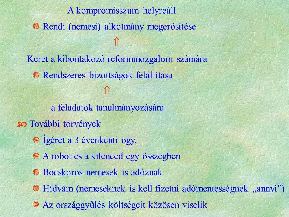 A kompromisszum helyreáll  Rendi (nemesi) alkotmány megerősítése  Keret a kibontakozó reformmozgalom számára  Rendszeres bizottságok felállítása  a feladatok tanulmányozására  További törvények  Ígéret a 3 évenkénti ogy.