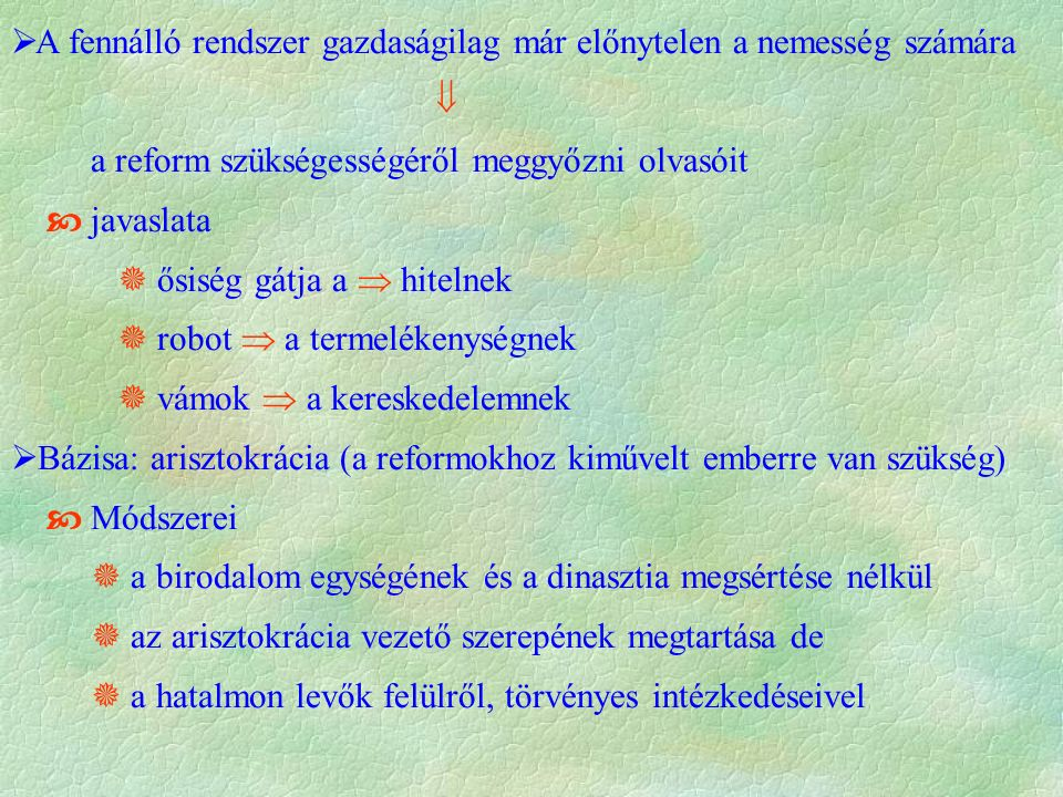 """ Anglia  Magyarország  ország elmaradott (gazd., pol., társ.)  mezőgazdaság kapitalista (tőkés) átalakítása  igyekezett korszerűsíteni de nem kapott rá hitelt  Akadálya az Ősiség-törvénye (1351)  el kell törölni  nemesi birtok nem adható el, nem árverezhető el  ezért nincs hitel (műve címe is ez)  Széchenyi terve  a reform szükségességéről meggyőzni olvasóit  Gazdasági oldalról közelit (""""zsebbevágó téma ) Széchenyiprogramja Széchenyi programja"""