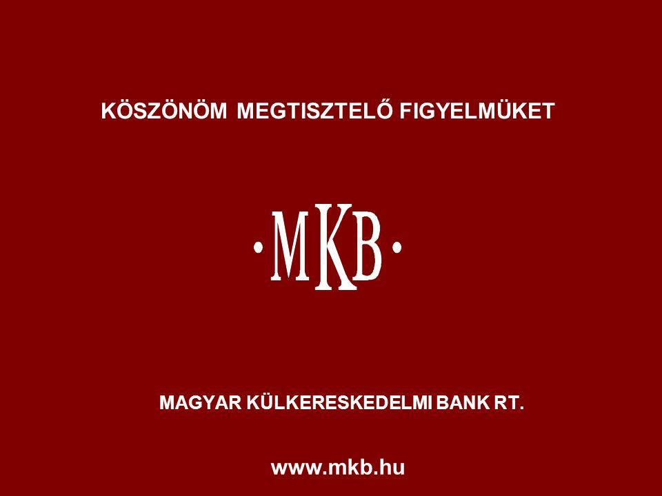 MAGYAR KÜLKERESKEDELMI BANK RT. KÖSZÖNÖM MEGTISZTELŐ FIGYELMÜKET www.mkb.hu