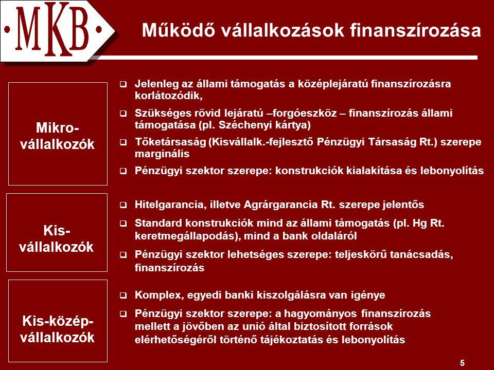 5 Működő vállalkozások finanszírozása Kis- vállalkozók  Hitelgarancia, illetve Agrárgarancia Rt.