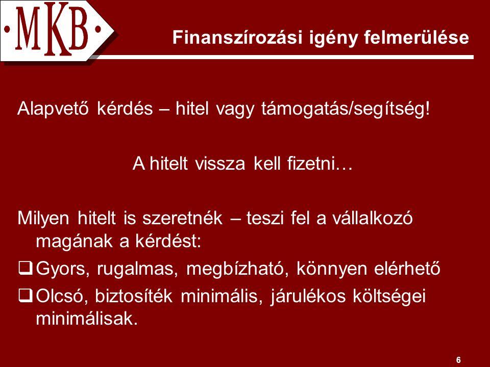 6 Finanszírozási igény felmerülése Alapvető kérdés – hitel vagy támogatás/segítség.