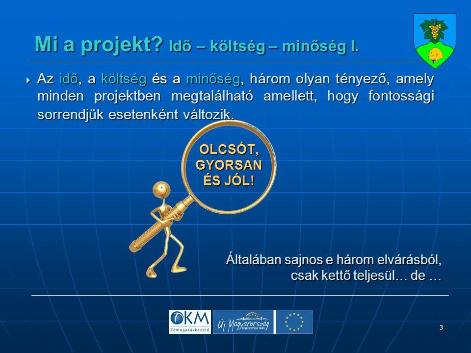 3 Mi a projekt. Idő – költség – minőség I. Mi a projekt.