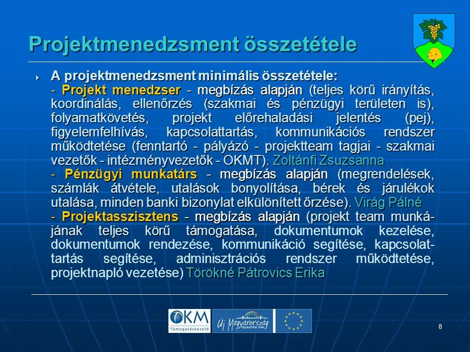 8 Projektmenedzsment összetétele  A projektmenedzsment minimális összetétele: - Projekt menedzser - megbízás alapján (teljes körű irányítás, koordinálás, ellenőrzés (szakmai és pénzügyi területen is), folyamatkövetés, projekt előrehaladási jelentés (pej), figyelemfelhívás, kapcsolattartás, kommunikációs rendszer működtetése (fenntartó - pályázó - projektteam tagjai - szakmai vezetők - intézményvezetők - OKMT).