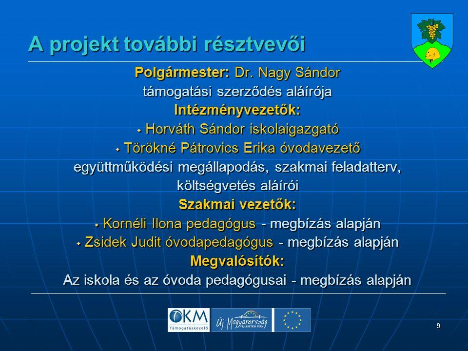 9 A projekt további résztvevői Polgármester: Dr.