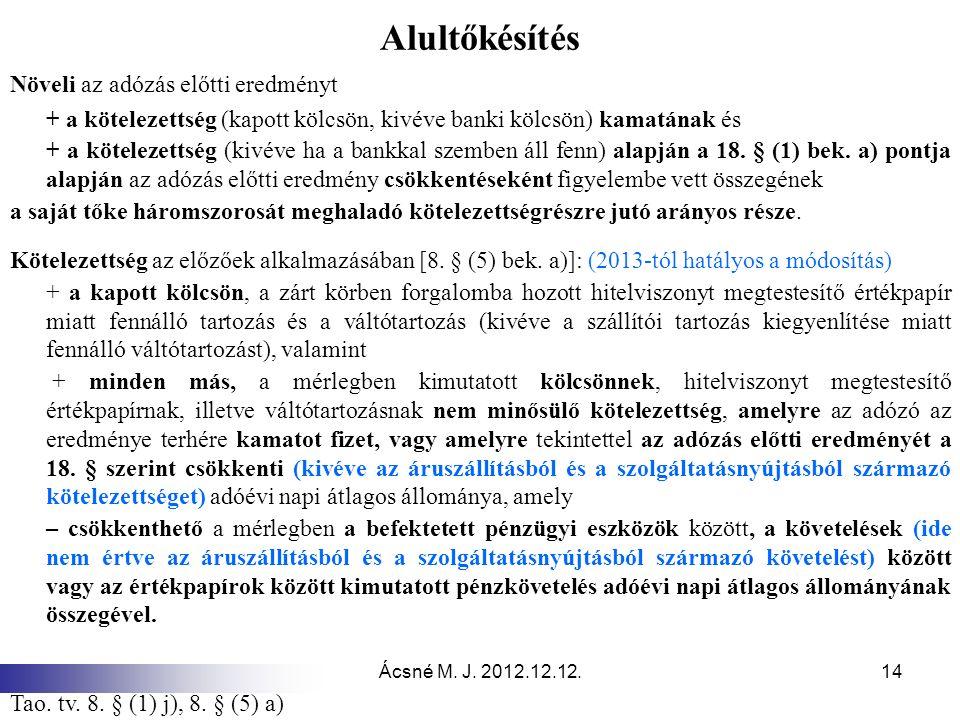 Ácsné M. J. 2012.12.12.14 Alultőkésítés Növeli az adózás előtti eredményt + a kötelezettség (kapott kölcsön, kivéve banki kölcsön) kamatának és + a kö