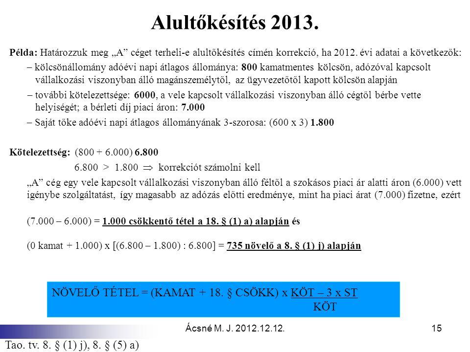 """Ácsné M. J. 2012.12.12.15 Alultőkésítés 2013. Példa: Határozzuk meg """"A"""" céget terheli-e alultőkésítés címén korrekció, ha 2012. évi adatai a következő"""