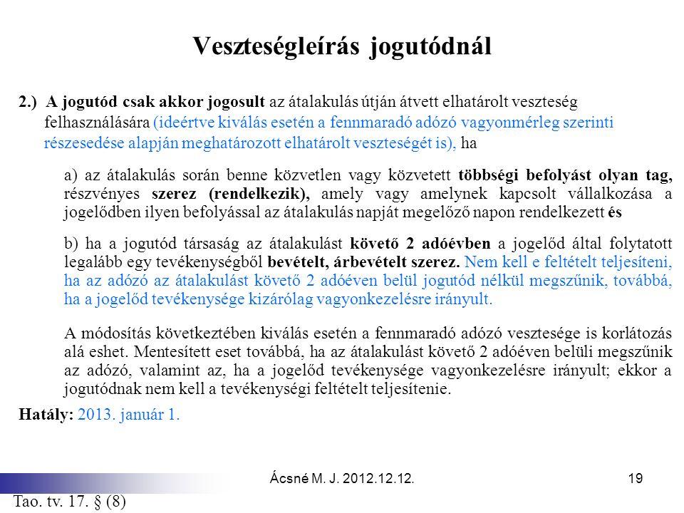 Ácsné M. J. 2012.12.12.19 Veszteségleírás jogutódnál 2.) A jogutód csak akkor jogosult az átalakulás útján átvett elhatárolt veszteség felhasználására