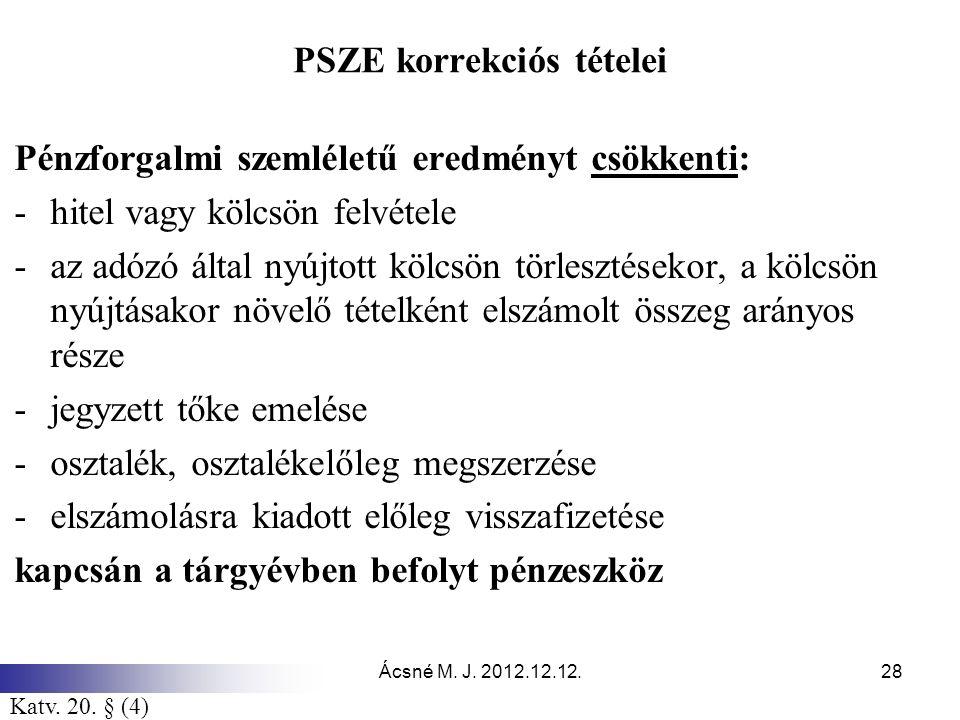 Ácsné M. J. 2012.12.12.28 PSZE korrekciós tételei Pénzforgalmi szemléletű eredményt csökkenti: -hitel vagy kölcsön felvétele -az adózó által nyújtott