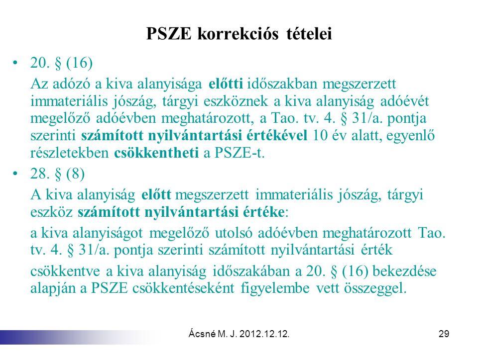 Ácsné M. J. 2012.12.12.29 PSZE korrekciós tételei 20. § (16) Az adózó a kiva alanyisága előtti időszakban megszerzett immateriális jószág, tárgyi eszk