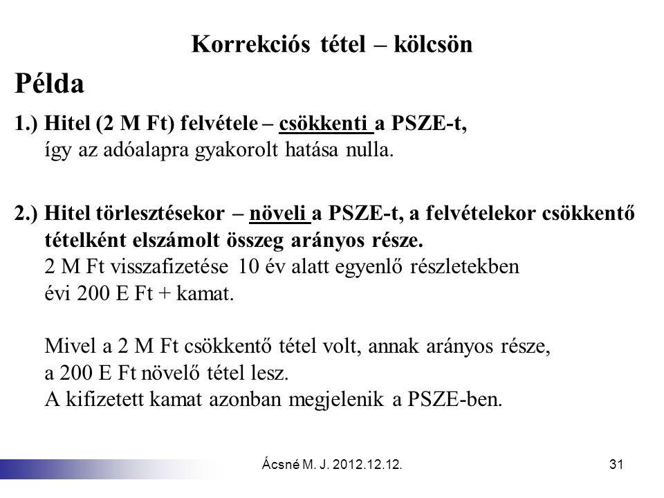 Ácsné M. J. 2012.12.12.31 Korrekciós tétel – kölcsön Példa 1.) Hitel (2 M Ft) felvétele – csökkenti a PSZE-t, így az adóalapra gyakorolt hatása nulla.