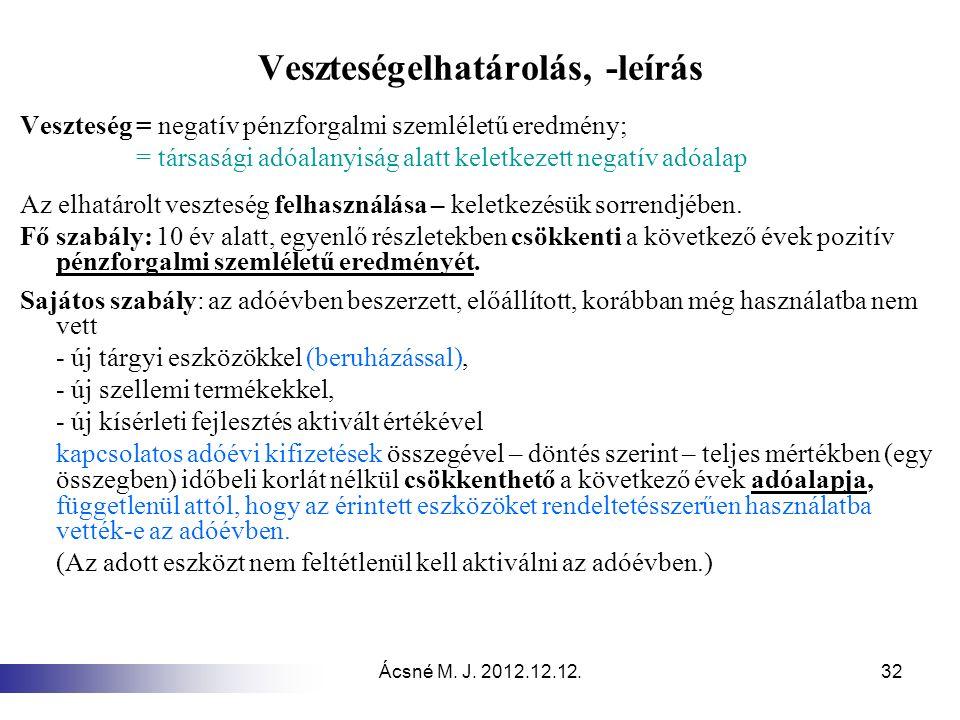 Ácsné M. J. 2012.12.12.32 Veszteségelhatárolás, -leírás Veszteség = negatív pénzforgalmi szemléletű eredmény; = társasági adóalanyiság alatt keletkeze