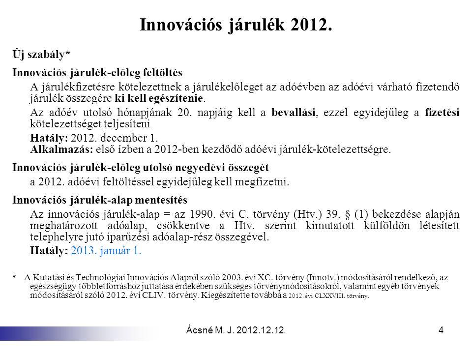 Ácsné M. J. 2012.12.12.4 Innovációs járulék 2012. Új szabály* Innovációs járulék-előleg feltöltés A járulékfizetésre kötelezettnek a járulékelőleget a