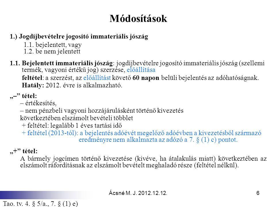 Ácsné M. J. 2012.12.12.6 Módosítások 1.) Jogdíjbevételre jogosító immateriális jószág 1.1. bejelentett, vagy 1.2. be nem jelentett 1.1. Bejelentett im
