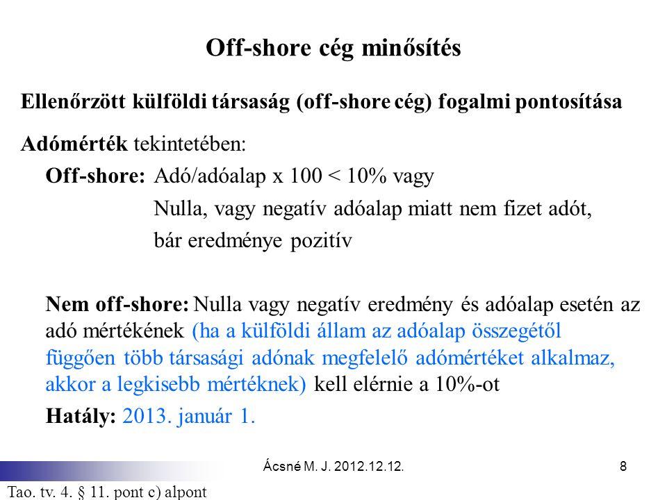 Ácsné M. J. 2012.12.12.8 Off-shore cég minősítés Ellenőrzött külföldi társaság (off-shore cég) fogalmi pontosítása Adómérték tekintetében: Off-shore:A