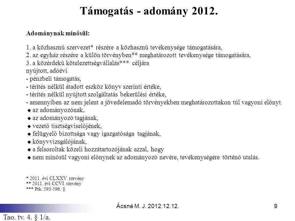 Ácsné M. J. 2012.12.12.9 Támogatás - adomány 2012. Adománynak minősül: 1. a közhasznú szervezet* részére a közhasznú tevékenysége támogatására, 2. az