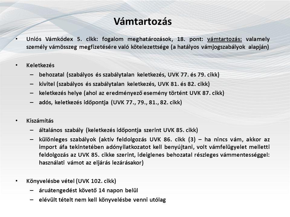 Vámtartozás Uniós Vámkódex 5. cikk: fogalom meghatározások, 18.