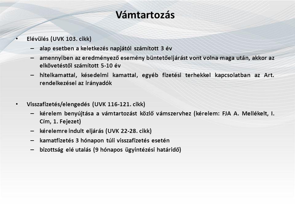 Vámtartozás Elévülés (UVK 103.