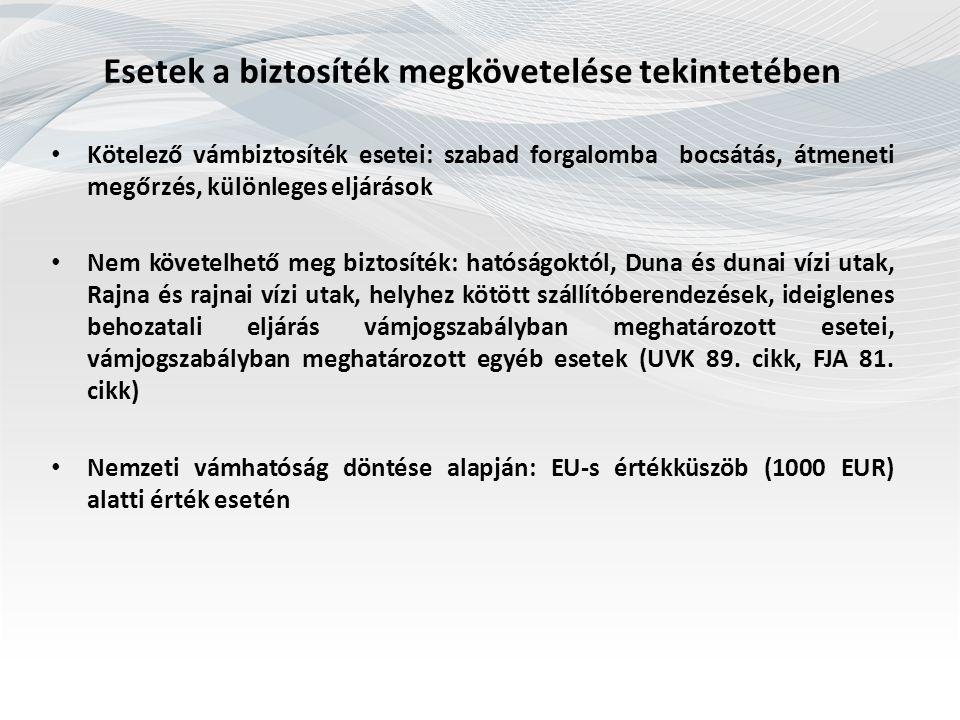 Esetek a biztosíték megkövetelése tekintetében Kötelező vámbiztosíték esetei: szabad forgalomba bocsátás, átmeneti megőrzés, különleges eljárások Nem követelhető meg biztosíték: hatóságoktól, Duna és dunai vízi utak, Rajna és rajnai vízi utak, helyhez kötött szállítóberendezések, ideiglenes behozatali eljárás vámjogszabályban meghatározott esetei, vámjogszabályban meghatározott egyéb esetek (UVK 89.