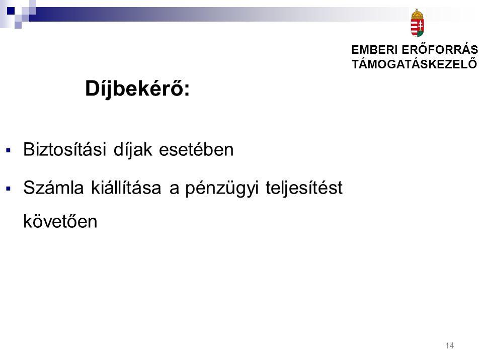 14 Díjbekérő:  Biztosítási díjak esetében  Számla kiállítása a pénzügyi teljesítést követően EMBERI ERŐFORRÁS TÁMOGATÁSKEZELŐ