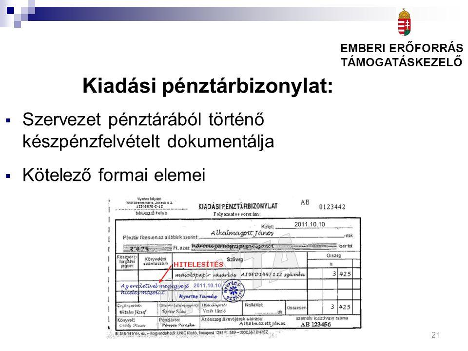 21 Kiadási pénztárbizonylat:  Szervezet pénztárából történő készpénzfelvételt dokumentálja  Kötelező formai elemei EMBERI ERŐFORRÁS TÁMOGATÁSKEZELŐ