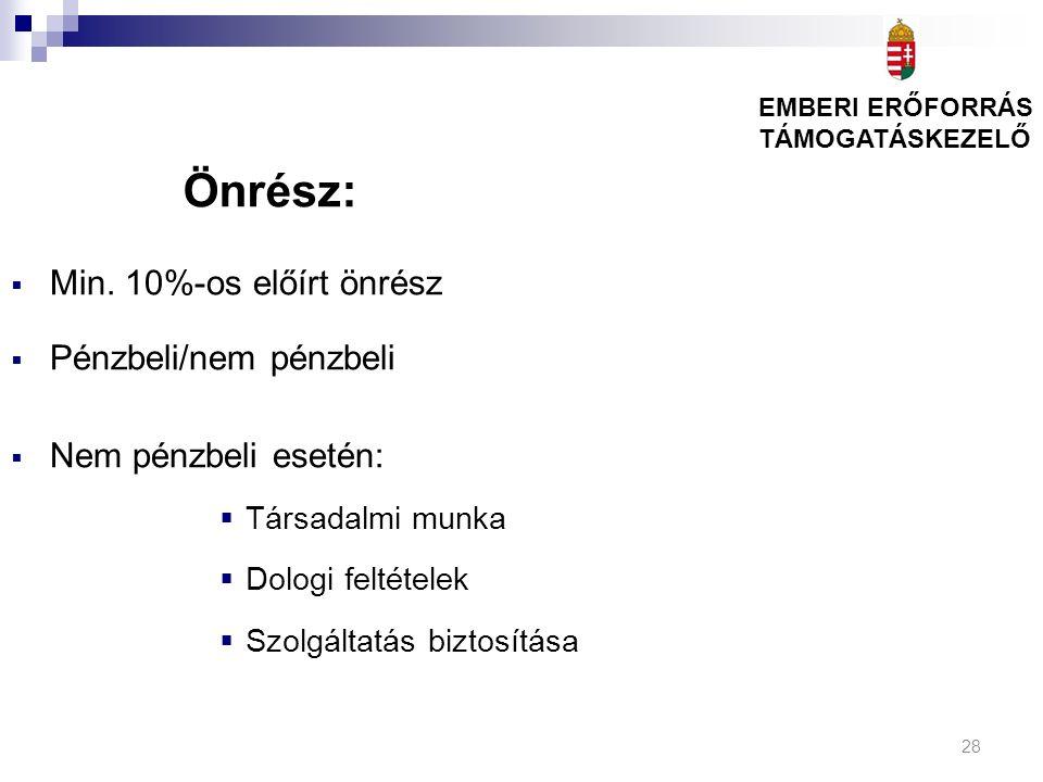 28 Önrész:  Min. 10%-os előírt önrész  Pénzbeli/nem pénzbeli  Nem pénzbeli esetén:  Társadalmi munka  Dologi feltételek  Szolgáltatás biztosítás