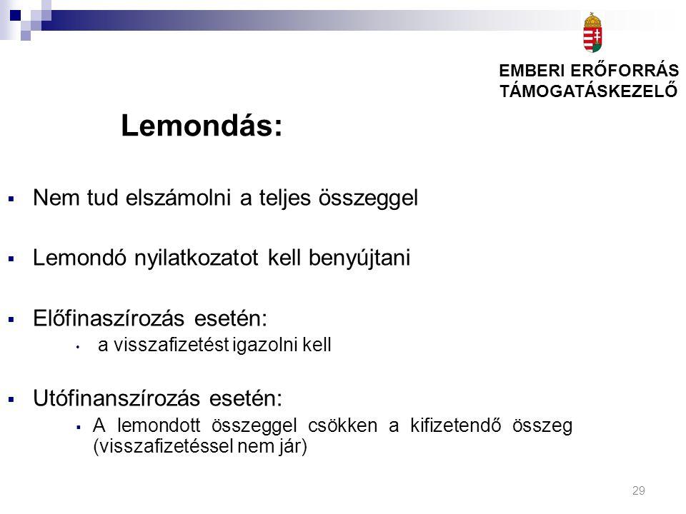 29 Lemondás:  Nem tud elszámolni a teljes összeggel  Lemondó nyilatkozatot kell benyújtani  Előfinaszírozás esetén: a visszafizetést igazolni kell