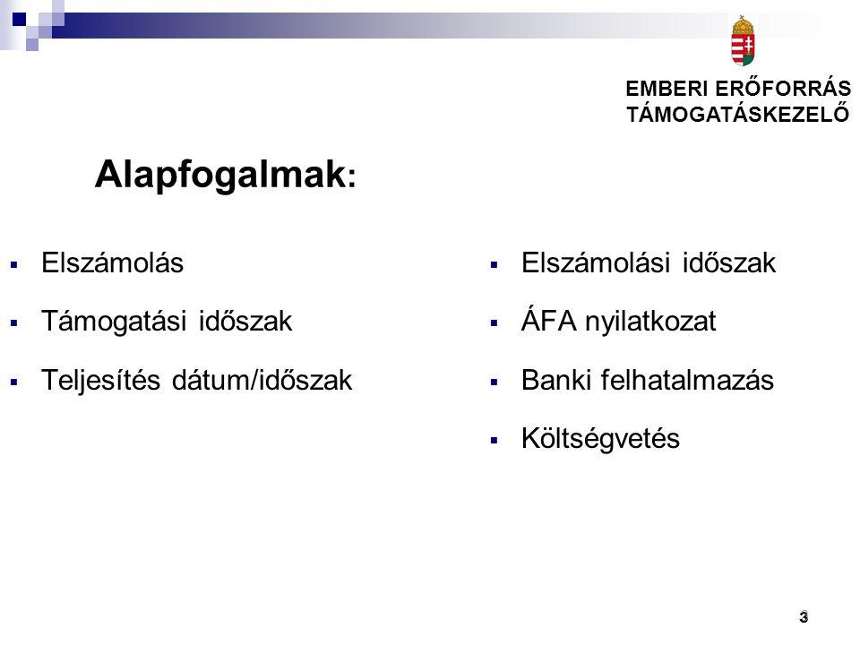 3  Elszámolási időszak  ÁFA nyilatkozat  Banki felhatalmazás  Költségvetés  Elszámolás  Támogatási időszak  Teljesítés dátum/időszak Alapfogalm
