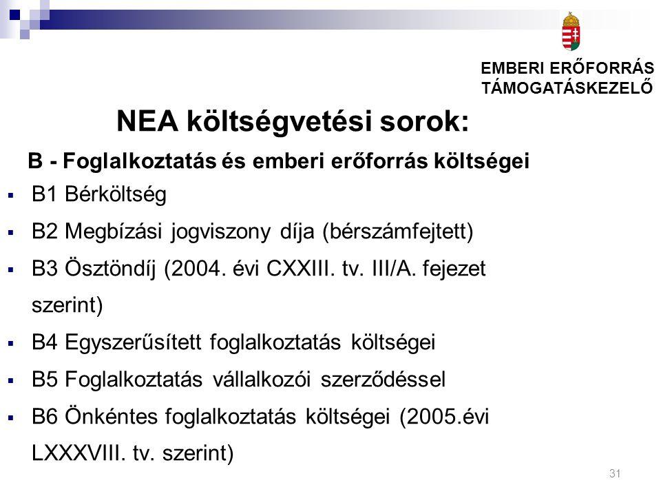 31 NEA költségvetési sorok: B - Foglalkoztatás és emberi erőforrás költségei  B1 Bérköltség  B2 Megbízási jogviszony díja (bérszámfejtett)  B3 Ösztöndíj (2004.