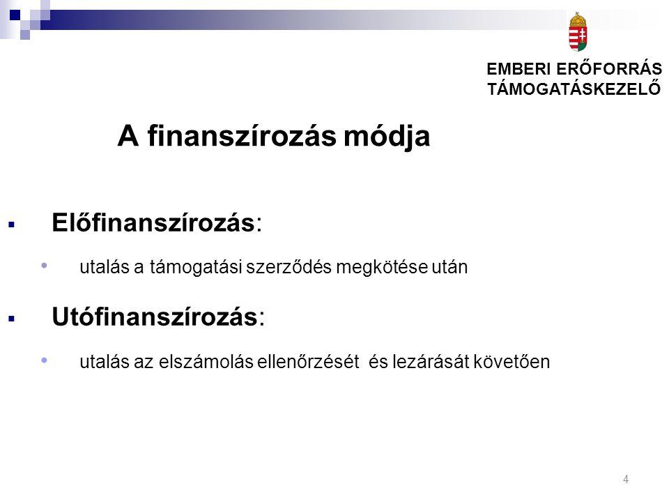 4 A finanszírozás módja  Előfinanszírozás: utalás a támogatási szerződés megkötése után  Utófinanszírozás: utalás az elszámolás ellenőrzését és lezárását követően EMBERI ERŐFORRÁS TÁMOGATÁSKEZELŐ