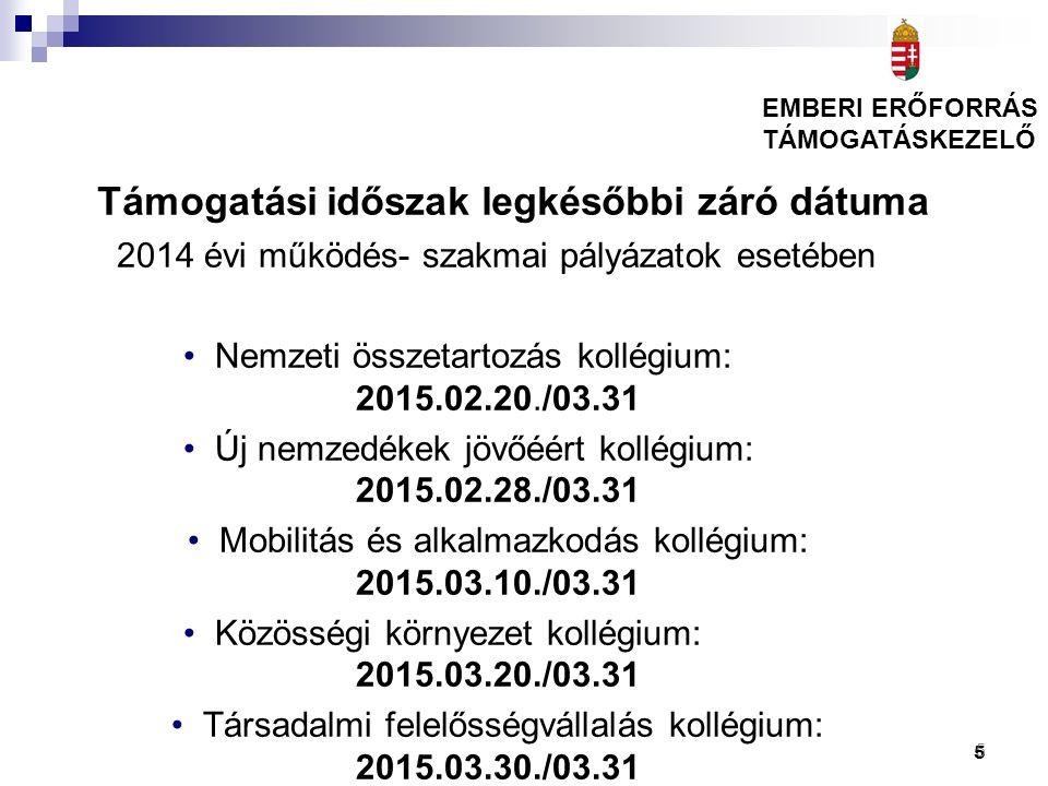 5 Támogatási időszak legkésőbbi záró dátuma 2014 évi működés- szakmai pályázatok esetében Nemzeti összetartozás kollégium: 2015.02.20./03.31 Új nemzed