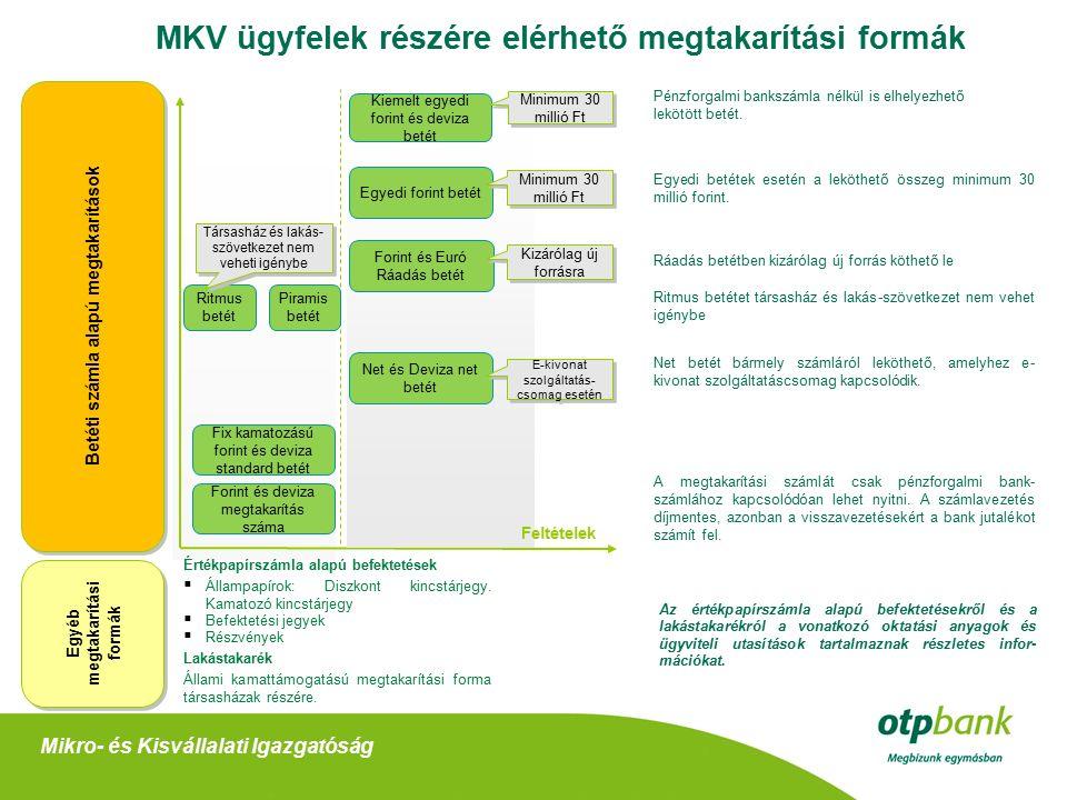 Az MKV ügyfelek részére elérhető megtakarítási formák Egyedi betétek esetén a leköthető összeg minimum 30 millió forint.