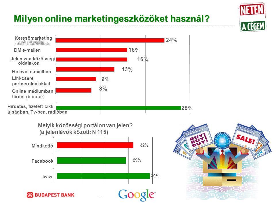 Google Confidential and Proprietary Milyen online marketingeszközöket használ.