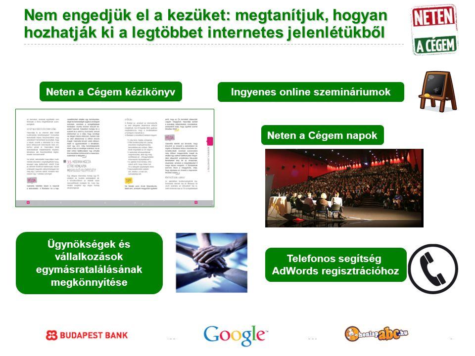 Google Confidential and Proprietary Nem engedjük el a kezüket: megtanítjuk, hogyan hozhatják ki a legtöbbet internetes jelenlétükből Ingyenes online szemináriumok Neten a Cégem kézikönyv Neten a Cégem napok Ügynökségek és vállalkozások egymásratalálásának megkönnyítése Telefonos segítség AdWords regisztrációhoz