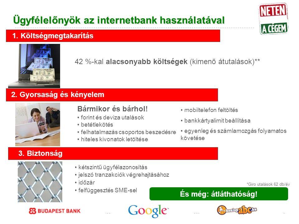 Google Confidential and Proprietary Ügyfélelőnyök az internetbank használatával És még: átláthatóság.