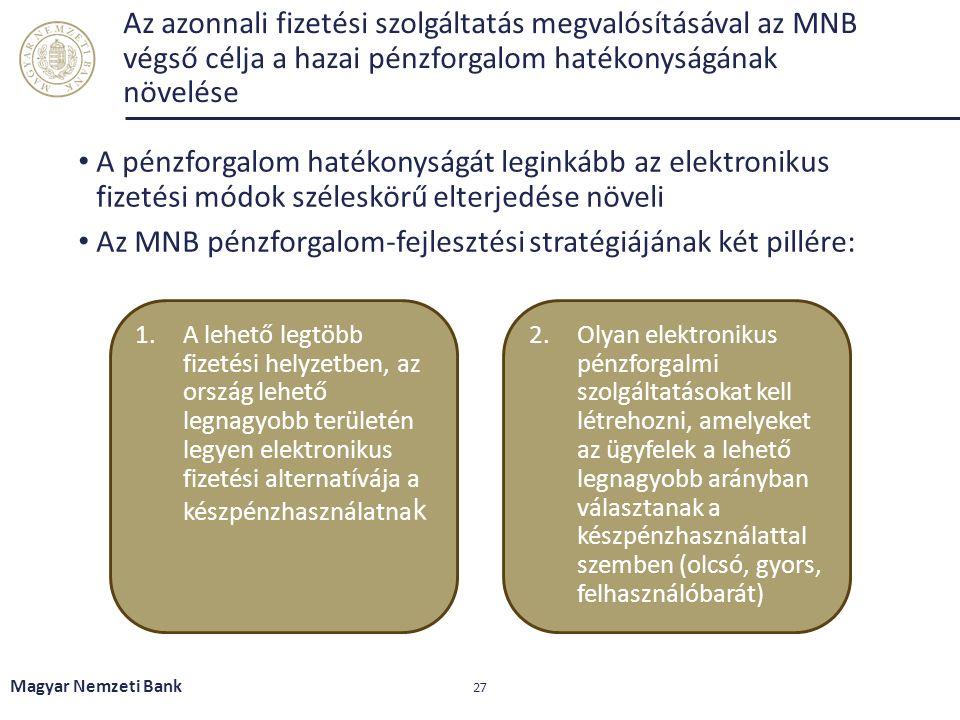Az azonnali fizetési szolgáltatás megvalósításával az MNB végső célja a hazai pénzforgalom hatékonyságának növelése A pénzforgalom hatékonyságát legin