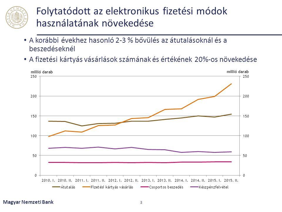 Az MNB kiemelten kezeli a pénzforgalmi szolgáltatások biztonságának és működési kockázatának feltérképezését Internetes fizetések egyre nagyobb térnyerése 2015 novemberében az MNB kiadta az internetes fizetések biztonságára vonatkozó MNB ajánlását Legjelentősebb változás: ügyfél-hitelesítési eljárás szigorítása Új Pénzforgalmi irányelv implementálásával jogszabály veszi át az ajánlás szerepét Magyar Nemzeti Bank 34 Internetes átutalások Internetes kártyás fizetések Csoportos beszedés elektronikus felhatalmazásának, valamint az elektronikuspénz-számlák közötti utalások interneten keresztül történő megadása Pénzforgalmi szolgáltatóknál jelentkező üzemzavarokról folyamatos az információgyűjtés Egyes üzemzavarok miatt sérültek a 18/2009.