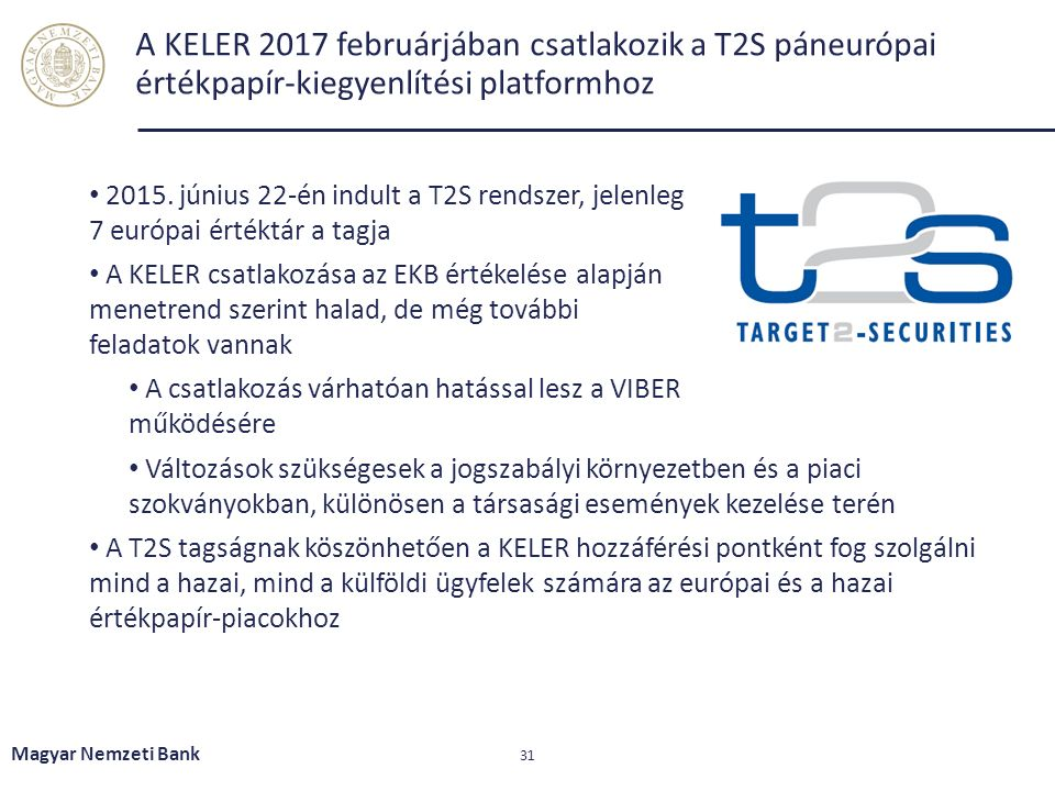 A KELER 2017 februárjában csatlakozik a T2S páneurópai értékpapír-kiegyenlítési platformhoz 2015. június 22-én indult a T2S rendszer, jelenleg 7 európ