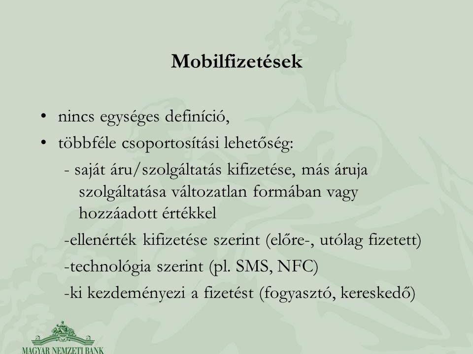Mobilfizetések nincs egységes definíció, többféle csoportosítási lehetőség: - saját áru/szolgáltatás kifizetése, más áruja szolgáltatása változatlan formában vagy hozzáadott értékkel -ellenérték kifizetése szerint (előre-, utólag fizetett) -technológia szerint (pl.