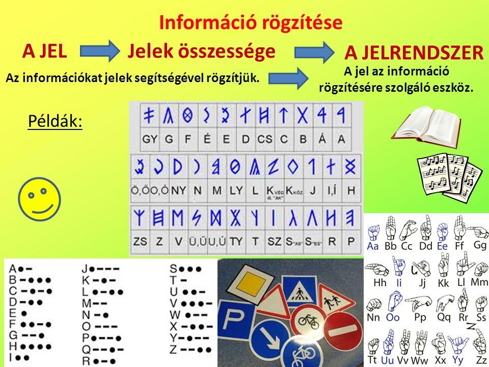 A JEL Információ rögzítése Az információkat jelek segítségével rögzítjük.