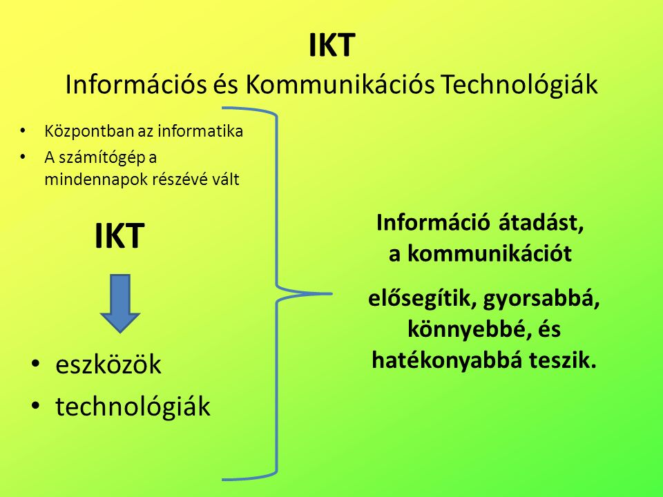 IKT Információs és Kommunikációs Technológiák Információ átadást, a kommunikációt elősegítik, gyorsabbá, könnyebbé, és hatékonyabbá teszik.