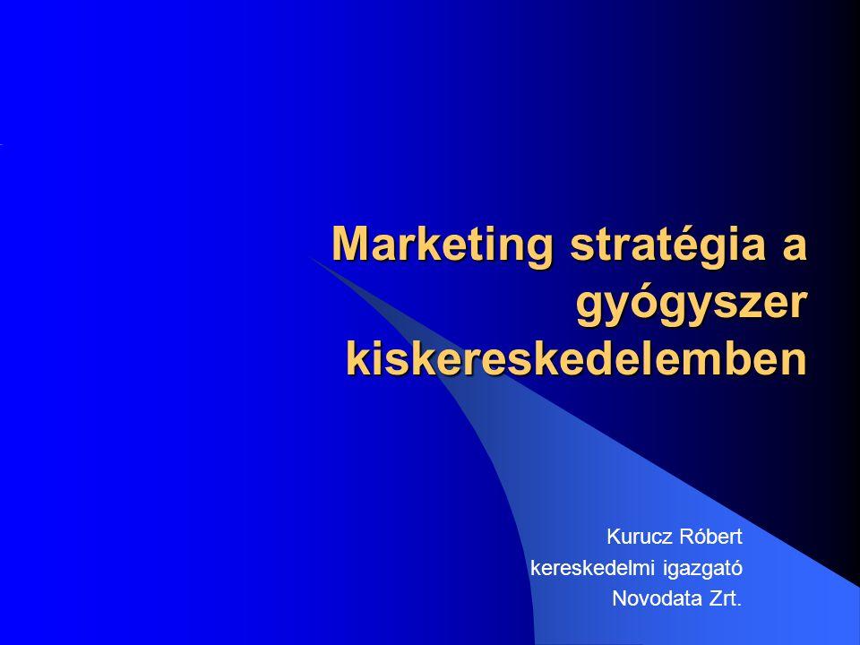 Marketing stratégia a gyógyszer kiskereskedelemben Marketing stratégia a gyógyszer kiskereskedelemben Kurucz Róbert kereskedelmi igazgató Novodata Zrt.