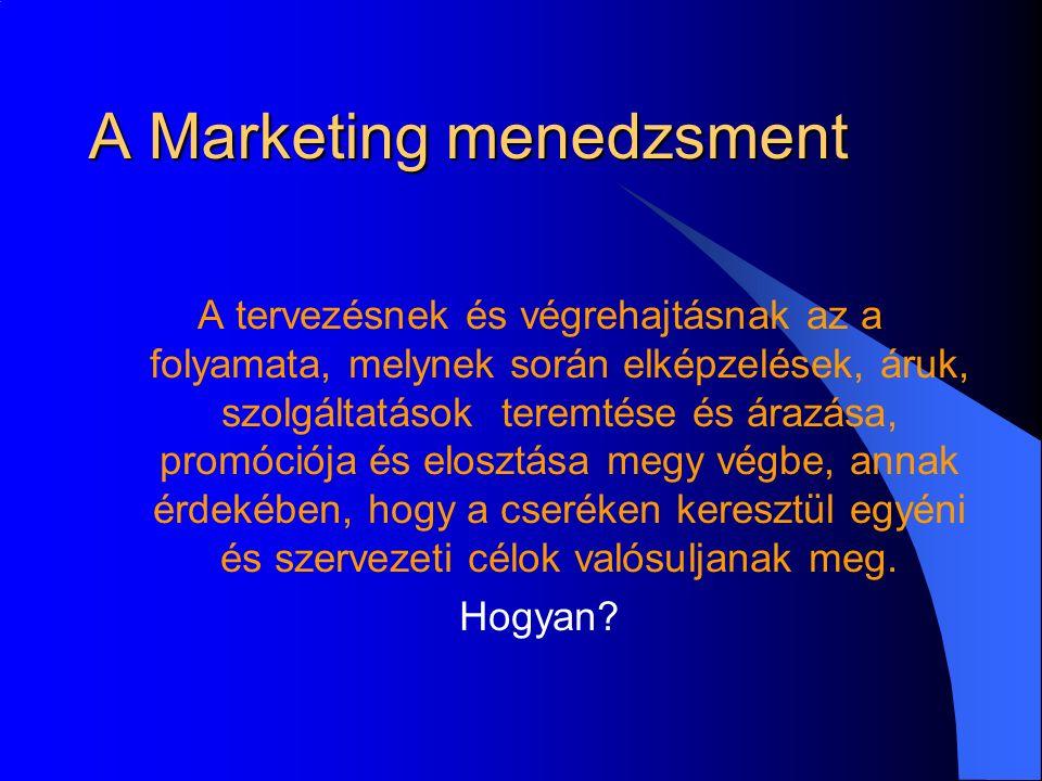 A Marketing menedzsment A tervezésnek és végrehajtásnak az a folyamata, melynek során elképzelések, áruk, szolgáltatások teremtése és árazása, promóciója és elosztása megy végbe, annak érdekében, hogy a cseréken keresztül egyéni és szervezeti célok valósuljanak meg.
