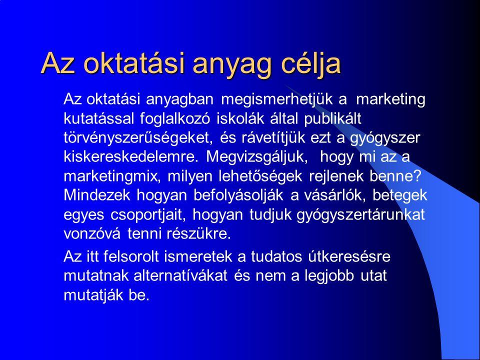 Az oktatási anyag célja Az oktatási anyagban megismerhetjük a marketing kutatással foglalkozó iskolák által publikált törvényszerűségeket, és rávetítjük ezt a gyógyszer kiskereskedelemre.