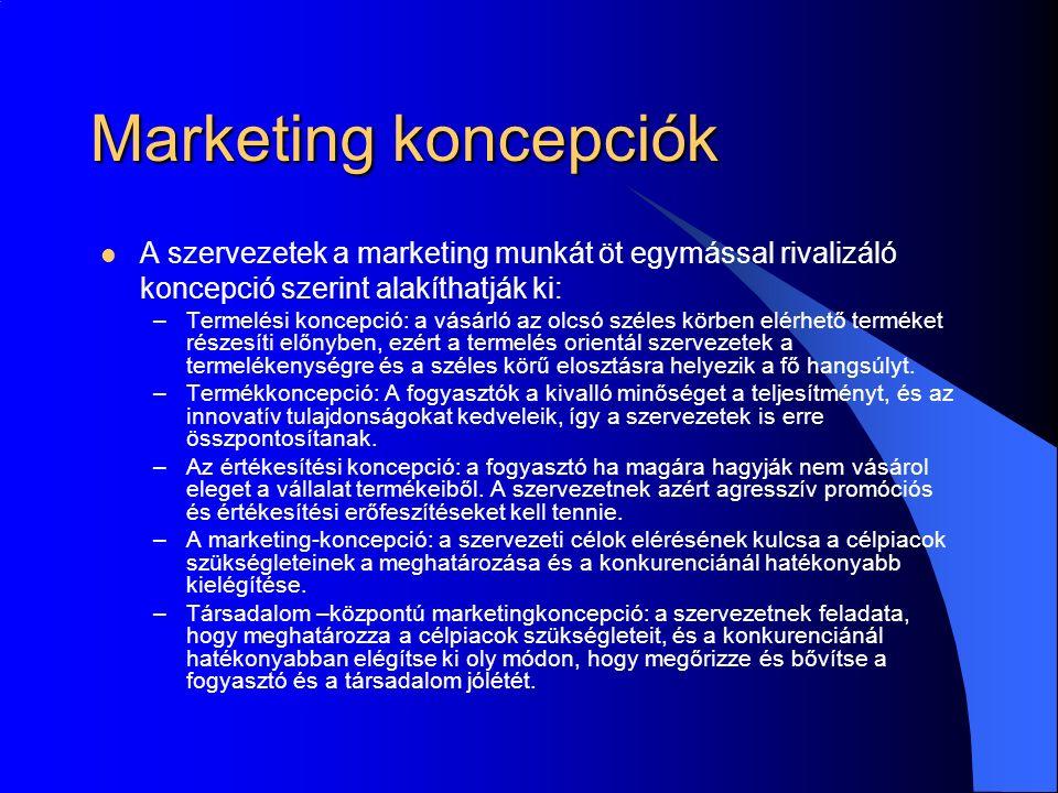 Marketing koncepciók A szervezetek a marketing munkát öt egymással rivalizáló koncepció szerint alakíthatják ki: –Termelési koncepció: a vásárló az olcsó széles körben elérhető terméket részesíti előnyben, ezért a termelés orientál szervezetek a termelékenységre és a széles körű elosztásra helyezik a fő hangsúlyt.