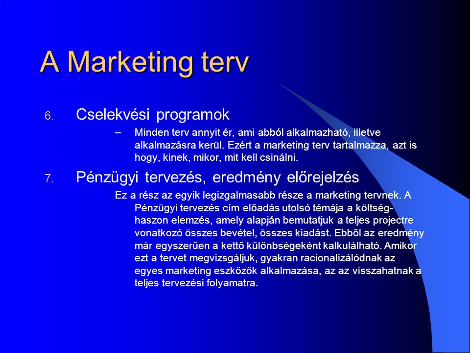 A Marketing terv 6.