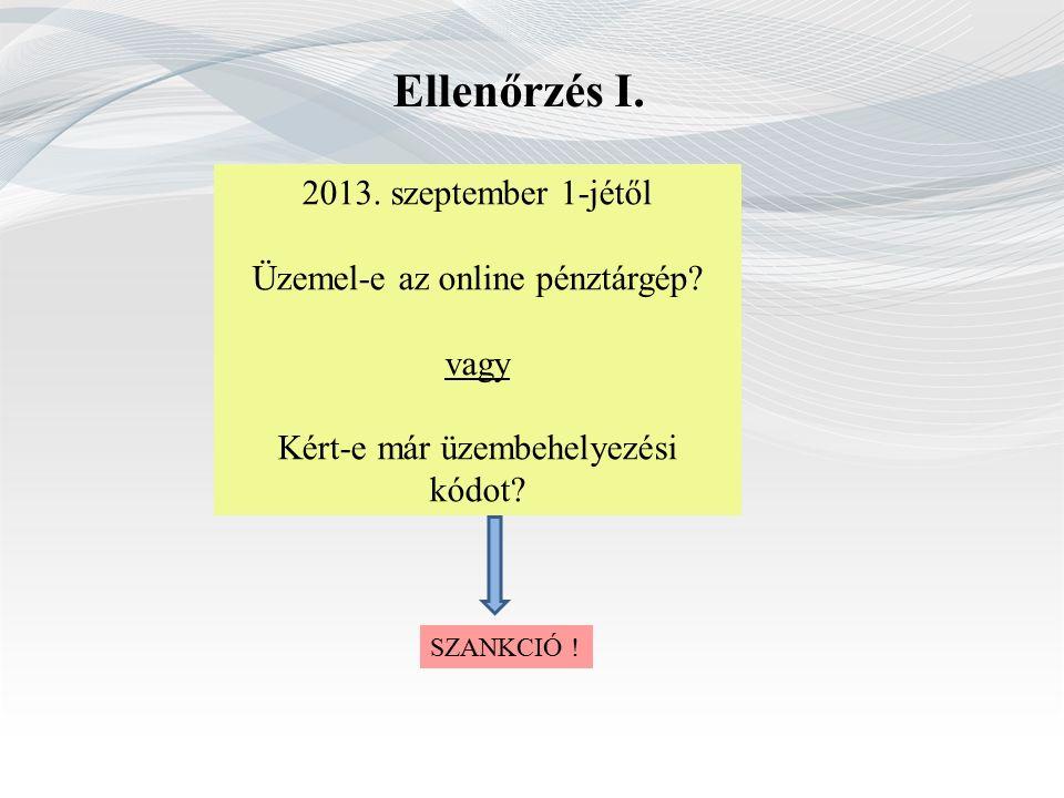 Ellenőrzés I. 2013. szeptember 1-jétől Üzemel-e az online pénztárgép.