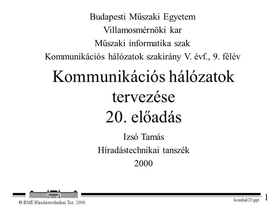 1  BME Híradástechnikai Tsz. 2000. komhal20.ppt Kommunikációs hálózatok tervezése 20. előadás Izsó Tamás Híradástechnikai tanszék 2000 Budapesti Műsz