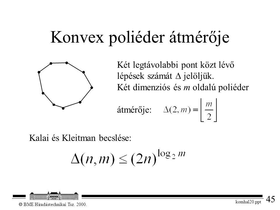 45  BME Híradástechnikai Tsz. 2000. komhal20.ppt Konvex poliéder átmérője Két legtávolabbi pont közt lévő lépések számát  jelöljük. Két dimenziós és